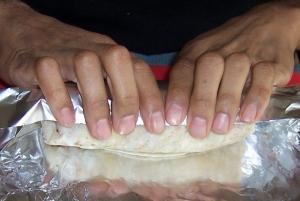 folding burrito in foil