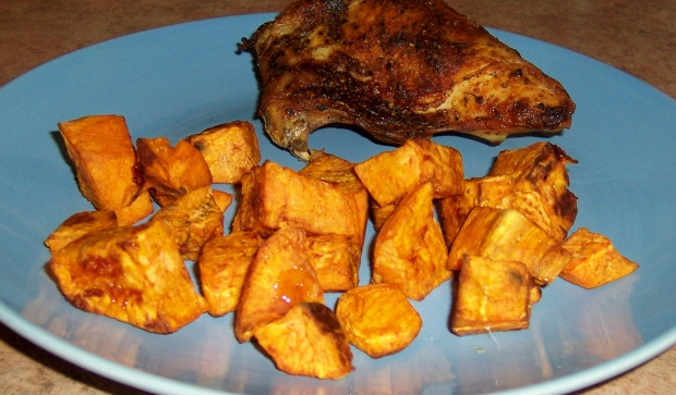 a picture of baked chicken and sweet potato's